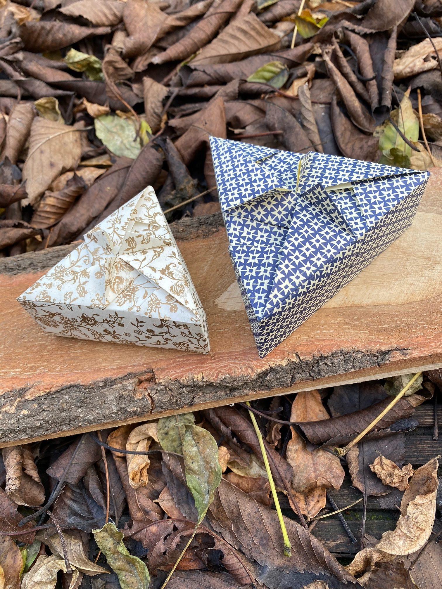 Digitaler Workshop: Origamischachteln mit drei Ecken